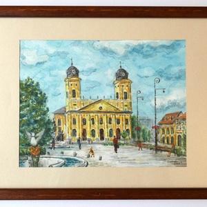 Debrecen Nagy temploma, Művészet, Festmény, Akvarell, Festészet, Fotó, grafika, rajz, illusztráció, Akvarell, melyen a debreceni Nagy templom látható, a képen helyet kapott a főnixmadaras szökőkút egy..., Meska