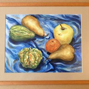 Gyümölcs és tök - akvarell keretben - művészet - festmény - akvarell - Meska.hu