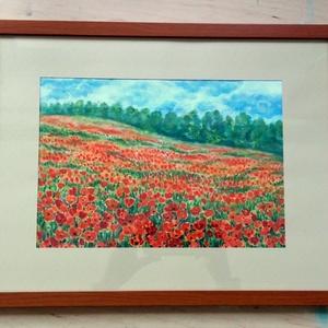 Pipacsok közt akvarell keretben, üveg alatt - Meska.hu
