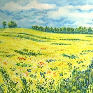 Messze földön repce nő - akvarell keretben, Művészet, Festmény, Akvarell, Festészet, Fotó, grafika, rajz, illusztráció, Meska
