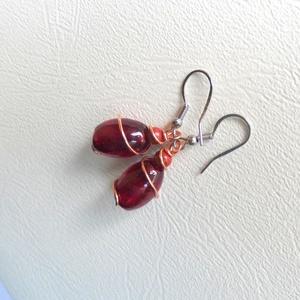 Tüzes piros és vörös - rézdrót fülbevaló üveg ásvány - Meska.hu