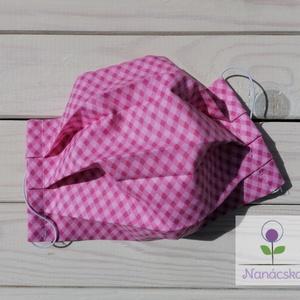 Textil szájmaszk/arcmaszk - rózsaszín kockás, NoWaste, Varrás, 100% pamutvászonból készült szájmaszk, arcmaszk.\n\nKét rétegű, külső rétege mintás textil, belső réte..., Meska