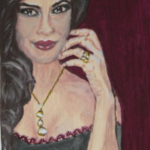 Női portré, Dekoráció, Otthon & lakás, Képzőművészet, Festmény, Akril, Festészet, Feszített vászonra készült a kép,akril festési technikával.\nMérete:30x40 cm\n\nA kép ,derűt,nyugalmat ..., Meska