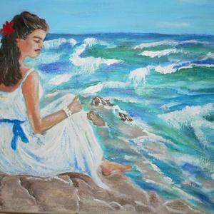Fehér ruhás nő a parton, Képzőművészet, Otthon & lakás, Vegyes technika, Festészet, feszített vászonra készült a kép,vegyes technikával .\nAkril és olajfestéssel .\nRemek hangulatot tükr..., Meska