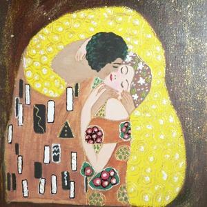 A CSÓK /KLIMT Reprodukció/, Képzőművészet, Otthon & lakás, Festmény, Akril, Festészet, feszített vászonra készült,keret nélkül is falra akasztható.Akril festékkel készült.\nRemek ajándék l..., Meska