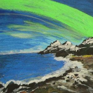 Sarki fény Norvégia Lofoten-szigetek, Képzőművészet, Otthon & lakás, Festmény, Akril, Festészet, Feszített vászonra ,akril festékkel készült e fantasztikus kép,mely által élvezhetjük a csodás sarki..., Meska