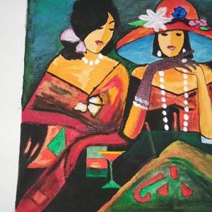 barátnők, Akril, Festmény, Művészet, Festett tárgyak, BIMBI REPRODUKCIÓ CÍME BARÁTNŐK, Meska