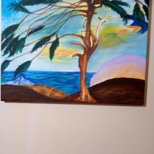 Magányos cédrus, Akril, Festmény, Művészet, Festészet, Feszített vászonra akril technikával készült. Mérete:40x50 cm., Meska