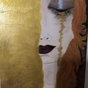 festmény GUSTAV KLIMT- ARANYKÖNNYEK gyönyörű képének reprodukciója, Művészet, Festmény, Akril, Festészet, Csodás ajándék lehet bárkinek ,bármilyen alkalomra.  , Meska