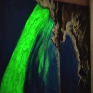 festmény sarki fény, Művészet, Festmény, Akril, Festészet, CSODÁS KÉP ,MELY A SÖTÉTBEN ÓRÁKON ÁT VILÁGÍT ,EZÁLTAL ÉLVEZHETJÜK A MESÉS SARKI FÉNY LÁTVÁNYÁT .IGA..., Meska