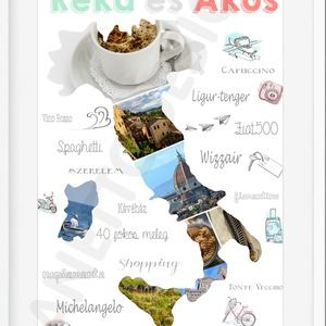 Fényképes kollázs térkép útinapló poszter kerettel, Szülinapi ajándék montázs nyaralási fotókkal, Egyedi fotó ajándék, Otthon & Lakás, Kép & Falikép, Dekoráció, Mindenmás, Meska