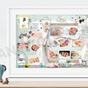 Első pillanatok montázs, emléklap, várandóság, poszter, babaszületés, emléklap, babavárás, falidekor, falikép, kép (nanetto) - Meska.hu