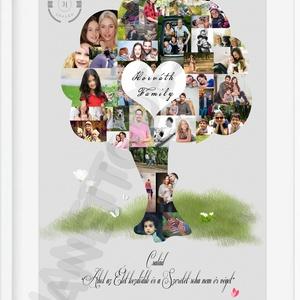 Apák napja fényképes családfa poszter logóval szeretetfa montázs kollázs házi áldás esküvői dekor apa apu daddy nagypapa, Dekoráció, Otthon, lakberendezés, Kép, Falikép, Fotó, grafika, rajz, illusztráció, Család - Ahol az Élet kezdődik és a Szeretet soha nem ér véget *** Családi fotóid kiváló alapanyago..., Meska