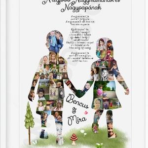 Egyedi fényképes nagypapa nagymama poszter kerettel, Szülinapi ajándék legjobb nagyinak, aranylakodalom, ezüstlakodalom, Felirat, Dekoráció, Otthon & Lakás, Fotó, grafika, rajz, illusztráció, Nagymamának, nagypapának - Nagyszülőnek unokákkal fűszerezett emléklap poszter  \nValami igazán frapp..., Meska
