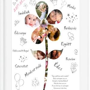 Egyedi fényképes virágos poszter kerettel, Kollázs fotókkal, Nagymama dédi ajándék poszter, Szülinapi köszönöm falikép, Dekoráció, Otthon & lakás, Szerelmeseknek, Ünnepi dekoráció, Lakberendezés, Kép, Falikép, Mindenmás, Egy szál virág mindennél többet ér! Főleg ha ez soha nem fog elhervadni.! Töltsd ki az ünnepelt jó s..., Meska