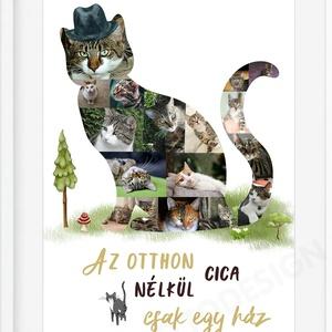 Egyedi cicás fényképes kollázs poszter kerettel, cicakedvelő gazdiknak szülinapra, cicaimádó ajándék, macska cat cicuska, Állatfelszerelések, Lakberendezés, Otthon & lakás, Dekoráció, Kép, Férfiaknak, Macska kellékek, Fotó, grafika, rajz, illusztráció, Te sem tudod elképzelni a családod négylábú kedvenc nélkül? Megérdemli, hogy róla is készüljön egy k..., Meska