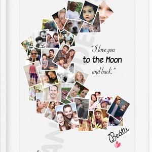 Egyedi fényképes hold alakú poszter kerettel, szülinapi poszter nászajándékba, kerek évfordulóra búcsúztatóra keresztelő, Gyerek & játék, Dekoráció, Otthon & lakás, Esküvő, Szerelmeseknek, Ünnepi dekoráció, Nászajándék, Gyerekszoba, Képkeret, Fotó, grafika, rajz, illusztráció, Sok-sok képkockából álló, hold alakot formázó, szöveggel, (idézettel, vagy ami rátok jellemző) megtű..., Meska