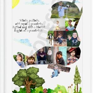 """Egyedi fényképes gyerekfotós kollázs poszter kerettel, Nagyinak Papának szülinapi ajándék unokák fotóival, keresztelőre, Gyerek & játék, Gyerekszoba, Baba falikép, Dekoráció, Otthon & lakás, Képkeret, Kép, Mindenmás, \""""Hinta Palinta \nrégi Duna, \nkiskatona \nugorj a Dunába\""""\n\nEz a vidám, hintázó gyermek a TE, vagy szere..., Meska"""