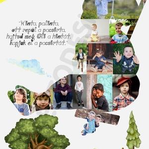 """Egyedi fényképes poszter hinta-palinta Kerettel, Fotóemlék kollázs kisfiú forma, Szülinapi ajándék zsúrra, 1 éves 2 éves, Gyerek & játék, Gyerekszoba, Baba falikép, Dekoráció, Otthon & lakás, Képkeret, Kép, Mindenmás, \""""Hinta Palinta \nrégi Duna, \nkiskatona \nugorj a Dunába\""""\n\nEz a vidám, hintázó gyermek a TE, vagy szere..., Meska"""