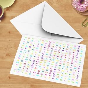 A5-ös egyedi vicces szókereső képeslap ballagási ajándékba, Titkos üzenet szókereső, jó tulajdonság, egyedi ötletek, Naptár, képeslap, album, Otthon & lakás, Képeslap, levélpapír, Ballagás, Ünnepi dekoráció, Dekoráció, Fotó, grafika, rajz, illusztráció, Unod a sablonos ajándékokat a ballagásra?\nSzeretnél valami nagyon különleges egyedit adni a szeretet..., Meska
