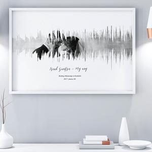 Nászajándék szülinapi poszter falidekor hanghullám faliposzter egyedi fényképes kedvenc zene montázs esküvő rúzsa magdi, Gyerek & játék, Gyerekszoba, Képkeret, Dekoráció, Otthon & lakás, Fotó, grafika, rajz, illusztráció, Szereted a zenét? \nVan a szeretteddel valami igazán meghatározó zeneszámod ami ha felcsendül egymásr..., Meska