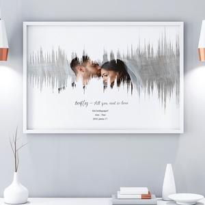 A3-as szülinapi poszter print hanghullám szerelmes poszter egyedi fényképes kedvenc zene montázs esküvő barátság I love , Gyerek & játék, Gyerekszoba, Képkeret, Dekoráció, Otthon & lakás, Fotó, grafika, rajz, illusztráció, Szereted a zenét? \nVan a szeretteddel valami igazán meghatározó zeneszámod ami ha felcsendül egymásr..., Meska
