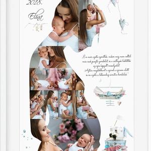 Egyedi fényképes kismama fotós poszter Kerettel, Babaváró montázs kollázs, pocakos terhes várandós fotós emléklap, , Kollázs, Művészet, Fotó, grafika, rajz, illusztráció, Hamar eltelt a 9 hónap amíg a picinyed a pocakodban volt? Babaváró buliba mész ahova vinnél valami k..., Meska