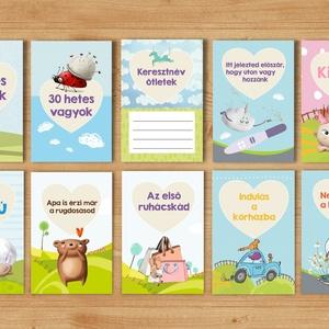kismama milestone kártyák baba fotókártya, Milestone baby card mérföldkő kártya babakártya naptár várandóság PiciKártya , Meghívó, Papír írószer, Otthon & Lakás, Fotó, grafika, rajz, illusztráció, *** Kismama kártya, Milestone kismama kártyák, várandós kártya***\n\n9 hónap, egy test, két szív!\nNe h..., Meska