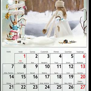 egyedi fényképes falinaptár naptár kézzel rajzolt egyedi design asztali naptár karácsonyi képeslap családi szabályok, Gyerek & játék, Naptár, képeslap, album, Otthon & lakás, Naptár, Dekoráció, Mindenmás, Fotó, grafika, rajz, illusztráció, Mi lehet fontosabb az életünkben, mint a családunkban, szeretetteink között átélt különböző ünnepi p..., Meska