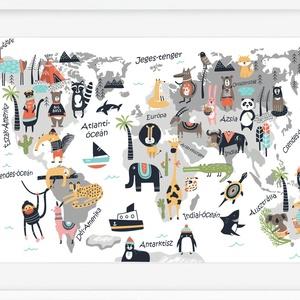 Állatos világtérkép babaszoba poszter kerettel, Szülinapi zsúr ajándékötlet, Kontinens földgömb atlasz falidekor koala, Gyerek & játék, Gyerekszoba, Baba falikép, Dekoráció, Otthon & lakás, Képkeret, Fotó, grafika, rajz, illusztráció, Szeretitek az állatokat és a világ sokszínűségét?\nBiztos sok mindent végig lehet mutatni ezen az ara..., Meska