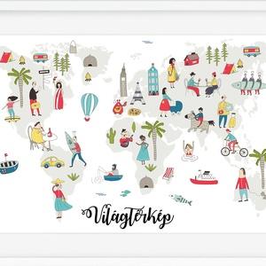 Állatos világtérkép babaszoba poszter kerettel, Szülinapi zsúr ajándékötlet, Kontinens földgömb atlasz falidekor koala, Gyerek & játék, Gyerekszoba, Baba falikép, Dekoráció, Otthon & lakás, Képkeret, Kép, Fotó, grafika, rajz, illusztráció, Hihetetlen vidám, pozitív lelkületű világtérkép néhány főbb jellemző karakter feltüntetésével.\nUtazz..., Meska