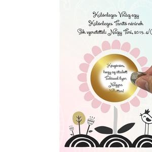 Egyedi virágos kaparós sorsjegy, Titkos üzenet Vicces virág szülinapra Fényképes rejtett üzenet képeslap, mozijegy kupon, Naptár, képeslap, album, Otthon & lakás, Ünnepi dekoráció, Dekoráció, Képeslap, levélpapír, Fotó, grafika, rajz, illusztráció, Ez az egyedi sorsjegy biztosan frappáns ajándék lehet egy csokor virág, vagy bonbon mellé, akár egy ..., Meska
