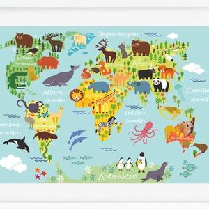 Babaszoba poszter állatos világtérkép földgömb kontinens atlasz babaszoba falidekor szülinapi poszter rajz nyomat koala (nanetto) - Meska.hu