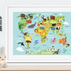 Állatos világtérkép babaszoba poszter kerettel, Szülinapi zsúr ajándékötlet, Kontinens földgömb atlasz falidekor koala, Gyerek & játék, Gyerekszoba, Baba falikép, Dekoráció, Otthon & lakás, Kép, Képkeret, Fotó, grafika, rajz, illusztráció, Szeretitek az állatokat és a világ sokszínűségét?\nBiztos sok mindent végig lehet mutatni ezen az ara..., Meska