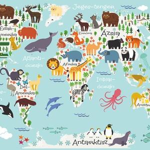 Állatos világtérkép babaszoba poszter kerettel, Szülinapi zsúr ajándékötlet, Kontinens földgömb atlasz falidekor koala (nanetto) - Meska.hu