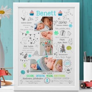 Egyedi kisfiú fényképes 1 éves szülinapi poszter kerettel Babalátogató ajándék, babaposzter emléklap, babanapló, montázs, Kép & Falikép, Dekoráció, Otthon & Lakás, Fotó, grafika, rajz, illusztráció, Készülsz a nagy napra? Már 1, 2 vagy akár már 3 éves a kisfiad vagy a szeretted gyermeke?\nAkkor jó h..., Meska