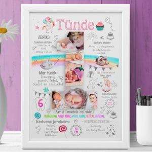 Fényképes 1 éves egyedi kislány szülinapi poszter kerettel, Babalátogató ajándék, babaposzter emléklap, babanapló info, Dekoráció, Otthon & Lakás, Falra akasztható dekor, Fotó, grafika, rajz, illusztráció, Készülsz a nagy napra? \nMár 1 éves a kisfiad, kislányod, vagy szeretted gyermeke? Akkor jó helyen já..., Meska