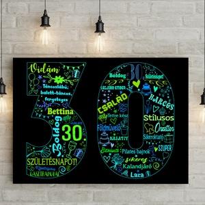 Egyedi szines szómontázs szófelhő férfiaknak kerettel, Szülinapi poszter kerekévforduló 1950 1960 1970, 50., 60., 70, 80, Esküvő, Nászajándék, Férfiaknak, Otthon & lakás, Lakberendezés, Fotó, grafika, rajz, illusztráció, Ugye mennyi mindenen keresztül mehetünk akár 1 év alatt is?\nFészekrakás, kedvenc időtöltések, utazás..., Meska