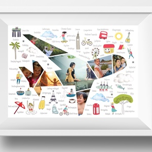 Egyedi fényképes repülő kollázs poszter kerettel, Útinapló nyaralási fotó napló, Montázs dekoráció faliposzter vakáció, Kép & Falikép, Dekoráció, Otthon & Lakás, Mindenmás, Valami meghatározó helyen nyaraltál, amire mindig szívesen emlékszel vissza? \nAkkor ezt az időszakot..., Meska