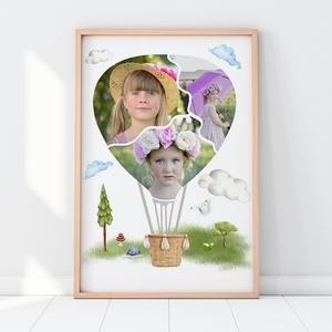 Egyedi fényképes kislány hőlégballonos kollázs kerettel, Szülinapi gyerekposzter fotókkal, Gyerekzsúr ajándék ötlet , Kollázs, Művészet, Fotó, grafika, rajz, illusztráció, Hőlégballon formába öntött fényképes print, poszter nemcsak gyerekszobába.\nSok a fotód a gyermekedrő..., Meska