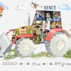 Egyedi piros traktor fényképes gyerekszoba poszter kerettel, Szülinapi zsúr ajándék, Jármü fotókollázs, Kisfiú ajándék (nanetto) - Meska.hu