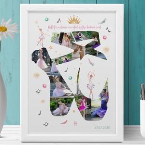 Balettcipő fényképes balerina kerettel, Egyedi fotós szülinapi poszter, babaszoba poszter táncos fotókkal, Táncimádóknak, Dekoráció, Otthon & lakás, Kép, Lakberendezés, Falikép, Fotó, grafika, rajz, illusztráció, Kislányod egy igazi táncosnő?\nImádja a balett és a tánc világát? \nSok a fotó de nincs ötleted hogyan..., Meska