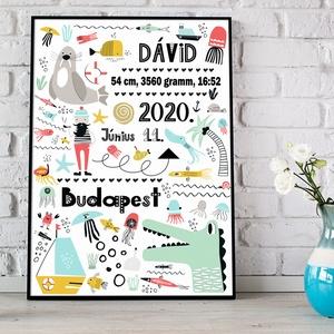 Tengerész újszülött kisfiú megérkeztem emléklap poszter kerettel, Névre szóló babastatisztika szülinapi babaváró ajándék, Gyerek & játék, Gyerekszoba, Baba falikép, Otthon & lakás, Fotó, grafika, rajz, illusztráció, Szeretsz horgászni? \nImádod a tenger és tavak illatát?\nEgy igazi hajós család vagytok?\nAkkor ez a vi..., Meska