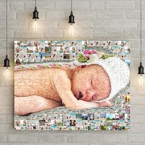 Egyedi fényképes fotómozaik szülinapi poszter, Mozaikfotó kerekévforduló nászajándék ajándék 20 30 40 50 60 baba poszter, Kollázs, Művészet, Fotó, grafika, rajz, illusztráció, Különleges ajándékra vágysz?\nRengeteg fotó halmozódott fel a telefonodban?\nKészíts a fotókból egy mo..., Meska