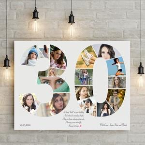 Szülinapi fényképes szám poszter KERETTEL, 30-as szám print montázs faliposzter kerek évfordulóra, Egyedi 40, 50, 60 70, Kép & Falikép, Dekoráció, Otthon & Lakás, Mindenmás, Egyedi fényképes számos poszter, az általad megálmodott számmal!!!!\nAz ismerősöd, szeretted, közeli ..., Meska