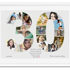 Szülinapi fényképes szám poszter KERETTEL, 30-as szám print montázs faliposzter kerek évfordulóra, Egyedi 40, 50, 60 70, Dekoráció, Otthon & lakás, Szerelmeseknek, Ünnepi dekoráció, Kép, Férfiaknak, Mindenmás, Az ismerősöd, szeretted, közeli családtagod, barátod születésnapjára készülsz és valami igazán egyed..., Meska