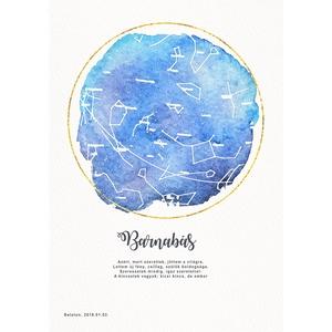 Egyedi csillagtérkép poszter kerettel, Keresztelő születésnapi ajándék zsúr, Csillagkép térkép nászajándékba, zodiákus (nanetto) - Meska.hu