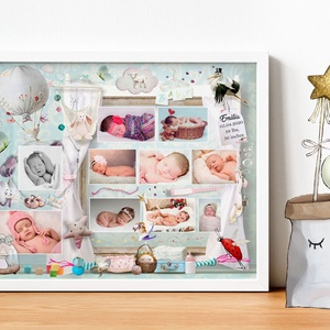 Kislány babaváró ajándék emléklap kerettel, Várandós pocakos fotós poszter, Babaszületés első kórházi születési fotók, Babalátogató ajándékcsomag, Játék & Gyerek, Mindenmás, Az első pillanatok montázs\nGarantáltan az egyik legjobb ajándékötlet nemcsak újszülött érkezésekor, ..., Meska