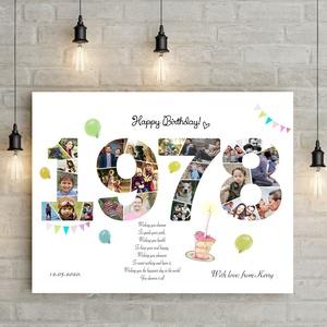 Egyedi fényképes szülinapi poszter kerettel, Kerekévforduló 40 50 60 éves emléklap, Egyedi ajándék kollázs montázs print, Kollázs, Művészet, Fotó, grafika, rajz, illusztráció, Nincs frappánsabb ajándék, mint a születési évszámba építeni a sok-sok fotót, ami az ünnepelt életút..., Meska
