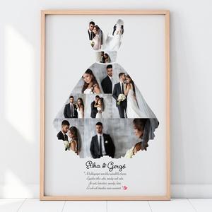 Egyedi fényképes esküvői ruha kollázs nászajándékba kerettel, Különleges születésnapi poszter, feleség férj ajándék, , Kollázs, Művészet, Fotó, grafika, rajz, illusztráció, Valami frappáns ajándékot keresel nászajándékba, esküvőre, születésnapra, ami biztos telitalálat és ..., Meska